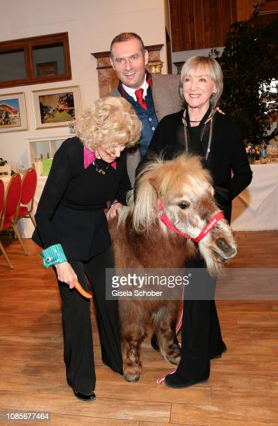 The pony treads on the foot of singer Bibi Johns Dieter Ehrengruber and Heidelinde Weis with pony during the prebirthday party of Bibi Johns My last...