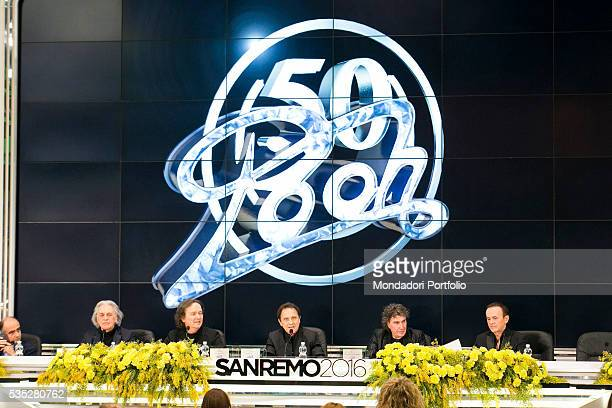 The Pooh releasing a press conference at the 66th Sanremo Music Festival Sanremo Italy February 2016