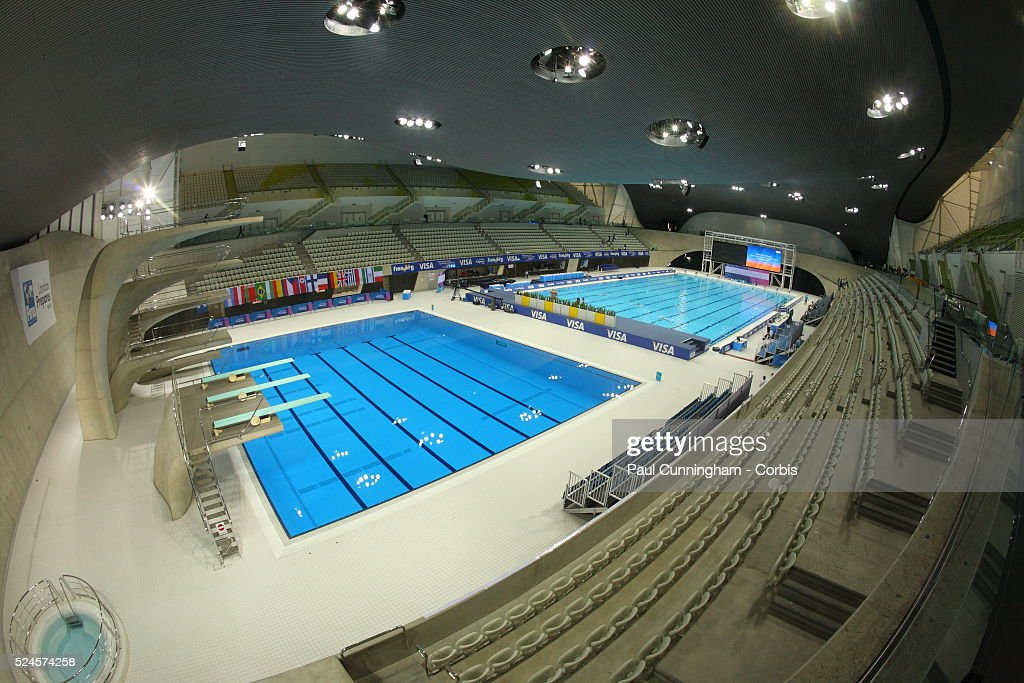 the pool and diving area at the aquatic centre london olympic park 21 april 2012 - Olympic Swimming Pool 2012
