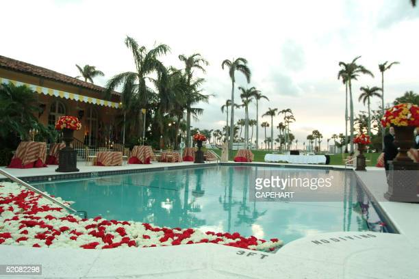 The pool at MarALago where cocktails were held for the International Red Cross Ball January 29 2005 in Palm Beach Florida