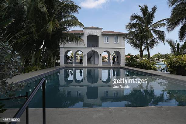 The pool cabana is seen during a tour of the former home of Al Capone on March 18 2015 in Miami Beach Florida The home being restored by MB America...