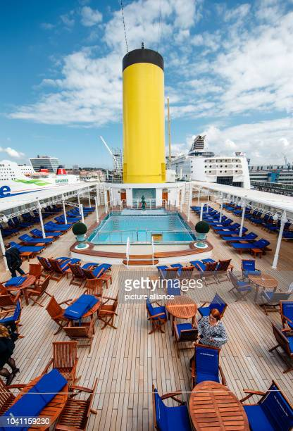 The pool deck on the 'MS Deutschland' in Kiel Germany 09 June 2015 The ship made famous by the television series 'Das Traumschiff' takes off today...