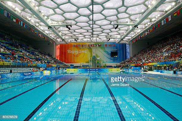 The pool is seen during the synchronised swimming event held at the National Aquatics Center on Day 15 of the Beijing 2008 Olympic Games on August...
