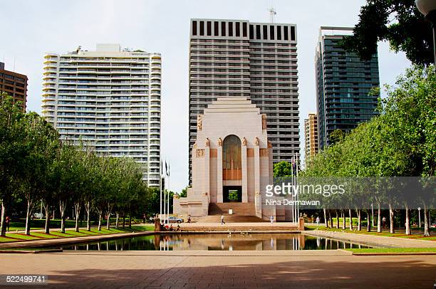 The Pool of Reflections and ANZAC Memorial in Hyde Park Sydney