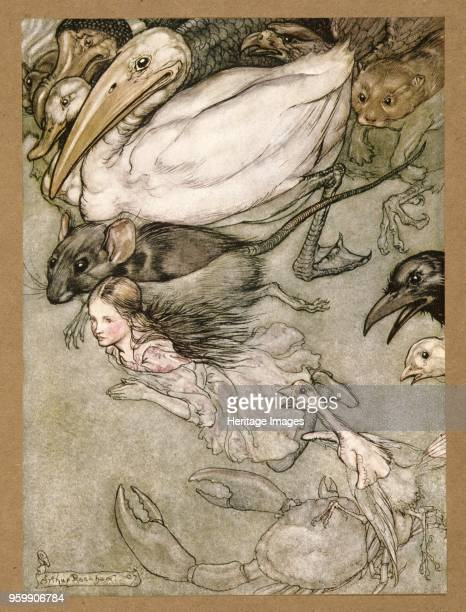 The Pool of Tears from Alice's Adventures in Wonderland by Lewis Carroll pub 1907 colour lithograph