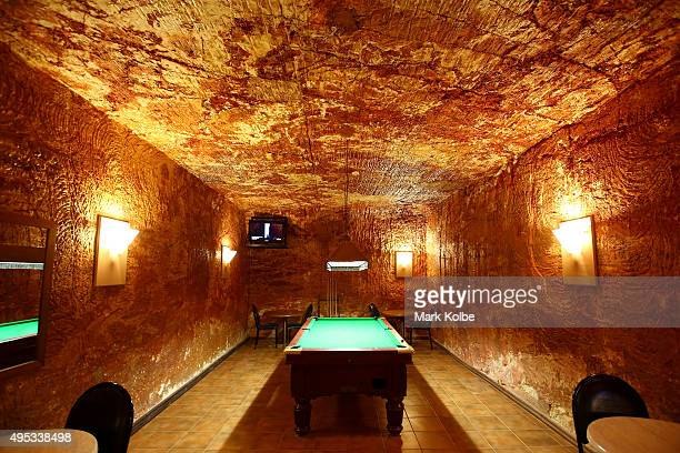 The pool room in the underground bar in the Desert Cave Hotel is seen on October 22 2015 in Coober Pedy Australia