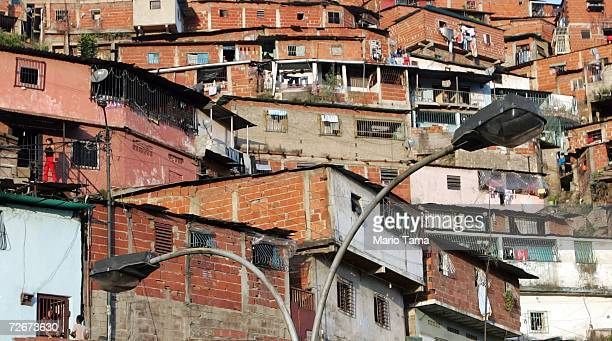 The poor barrio of Coche is seen November 29 2006 in Caracas Venezuela Despite daily problems with fresh water and electricity residents of the...