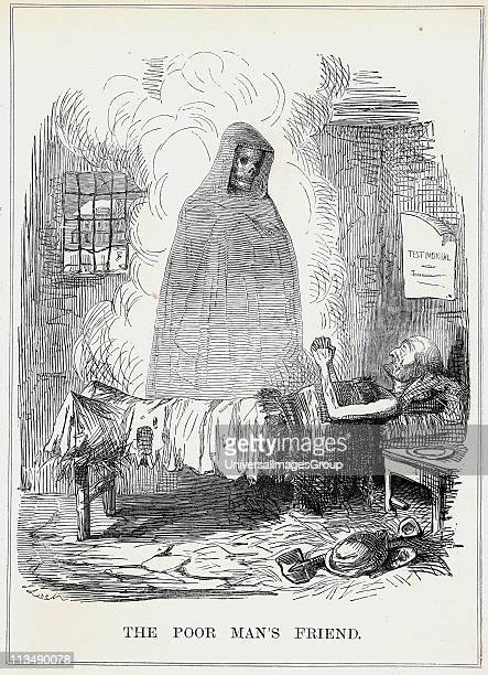 The Poor Man's Friend' Cartoon by John Leech from 'Punch' London February 1845 showing Death as the friend of the old or sick unemployed manual...