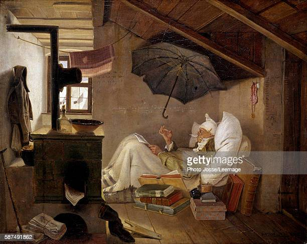 The Poor Poet An old man bedridden in an attic Painting by Carl Spitzweg 1839 036 X 044 m Berlin Altes Museum Germany