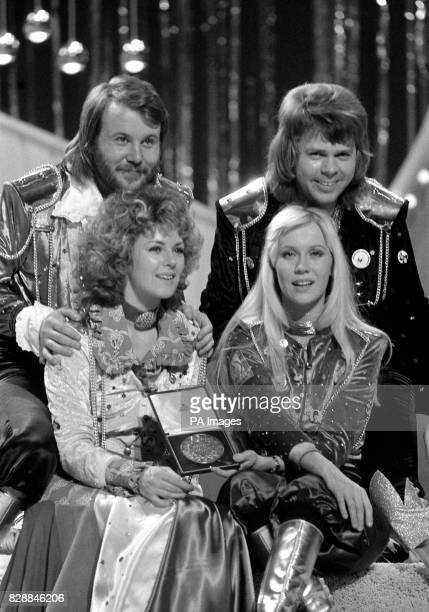 The pop group Abba congratulate each other in Brighton after winning the Eurovision Song Contest for Sweden with Waterloo sung by the girls Annifrid...