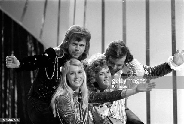 """The pop group Abba congratulate each other in Brighton, after winning the Eurovision Song Contest for Sweden with """"Waterloo"""", sung by the girls,..."""