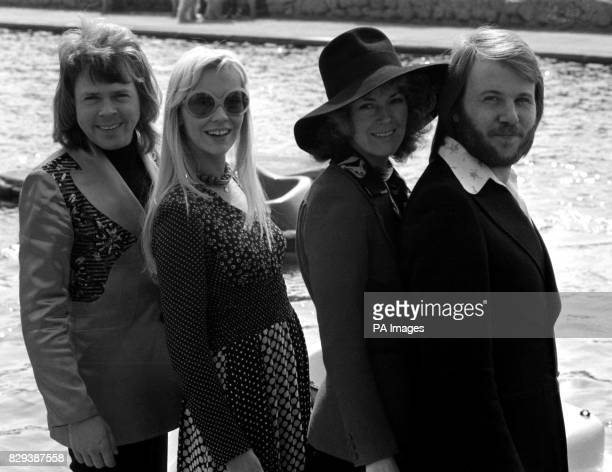 The pop group Abba in Brighton where they won the Eurovision Song Contest for Sweden with Waterloo sung by the girls Annifrid Lyngstad right and...