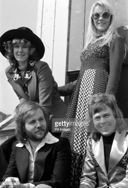 The pop group Abba in Brighton where they won the Eurovision Song Contest for Sweden with Waterloo sung by the girls Annifrid Lyngstad left and...