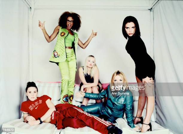 The pop rock singing group The Spice Girls pose for a group portrait during a studio session in New York City February 1 1997