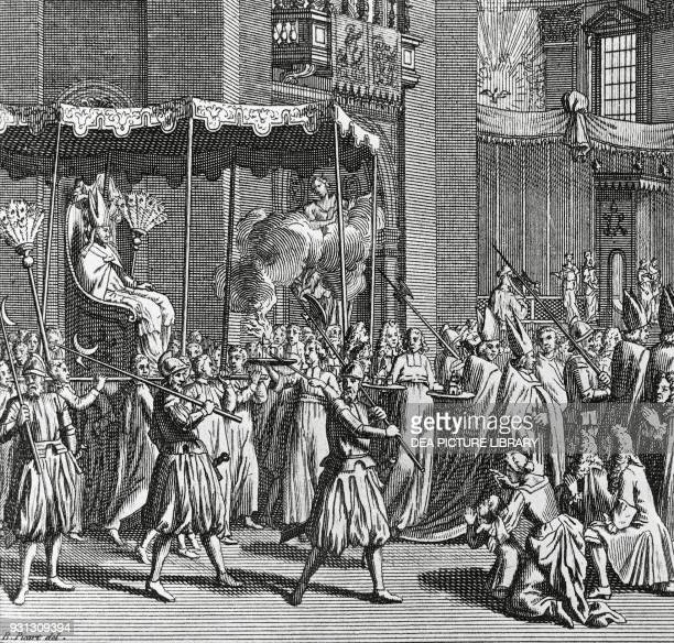 The Pope being carried on the gestatorial chair and oakum being burnt as the procession passes engraving by Bernard Picart from Religious Ceremonies...