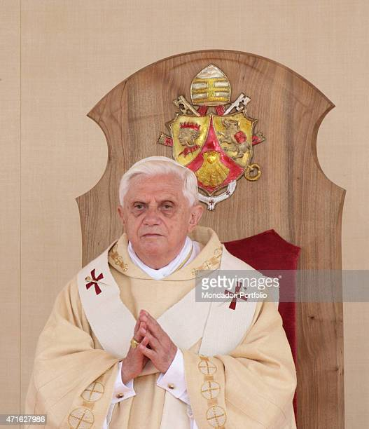 'The pope Benedict XVI celebrating the Holy Mass in the square of the Marian Sanctuary Altotting Germany 11th September 2006 '