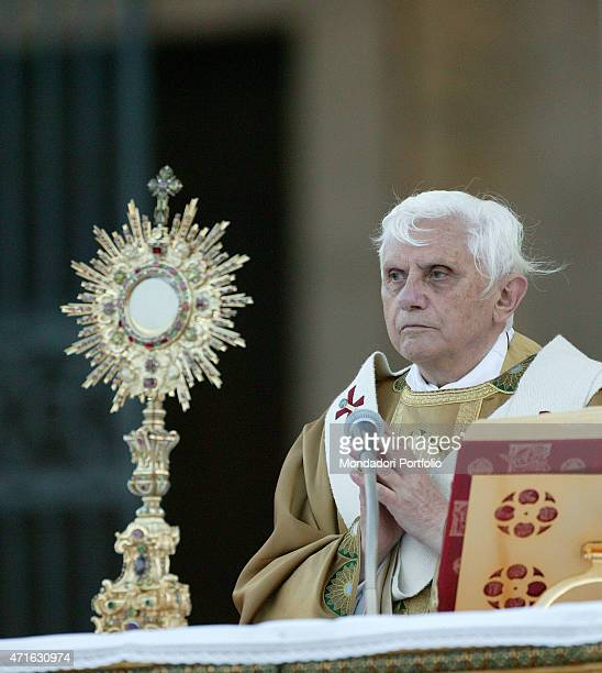 'The pope Benedict XVI during the Holy Mass for the Solemnity of Corpus Domini celebrated on the parvis of San Giovanni in Laterano Basilica Rome...