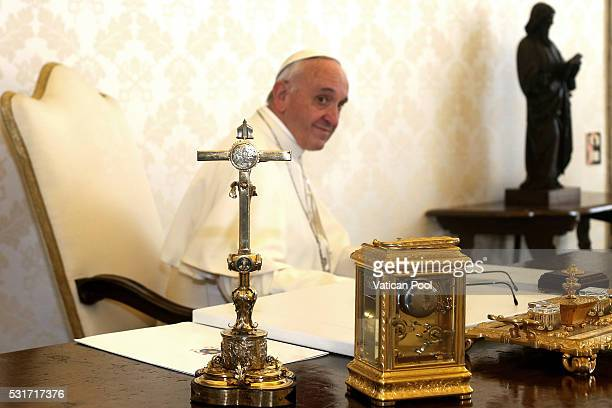The Pope's writing desk is seen as Pope Francis meets with President of Macedonia's Parliament Trajko Veljanoski during an audience at his studio of...