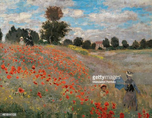 The Poppy Field by Claude Monet 19th Century oil on canvas 50 x 65 cm France Paris Musée d'Orsay Detail Poppies around Argenteuil a woman with a...