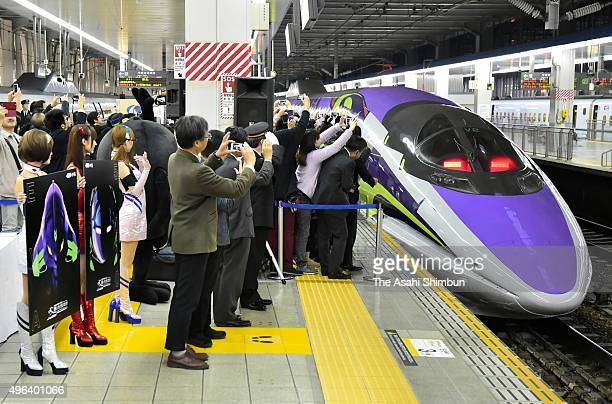 The popular animation series 'Neon Genesis Evangelion' themed Shinkansen bullet train '500 Type Eva' departs for Shin Osaka after the launching...