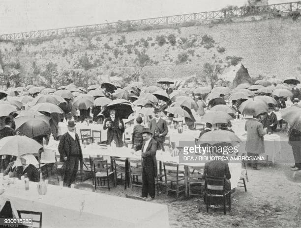 The popular banquet offered to the Palatine Mayor Prospero Colonna Rome Italy photograph by Dante Paolocci from L'Illustrazione Italiana Year XXX No...