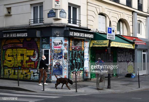 "The popular district the ""street Saint Denis"" in Paris during the confinement of the French due to an outbreak of the coronavirus on April 25, 2020..."