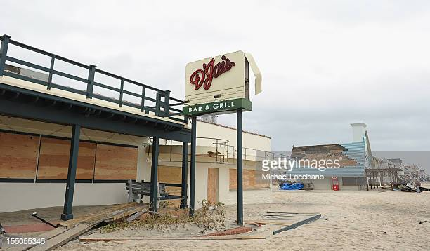 The popular D'Jais nightclub boardedup following Hurricane Sandy on October 30 2012 in Belmar New Jersey United States With the death toll currently...