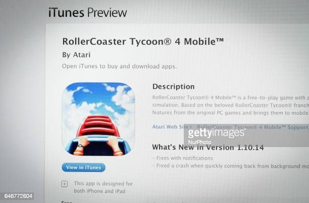 App Now In Itunes Store Rollercoaster Tycoon Stock Photos