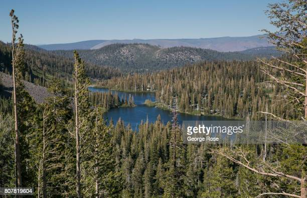 The popular Twin Lake area is viewed on June 29 in Mammoth Lakes California With a record winter and spring snowfall of 616 inches covering much of...