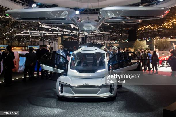 The 'Popup next' concept flying car a hybrid vehicle that blends a selfdriving car and passenger drone by Audi italdesign and Airbus is seen at the...