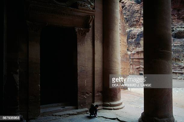 The porch of Khazneh elFaraun 1st century BC ancient city of Petra Jordan Nabatean civilisation 6th century BC2nd century AD