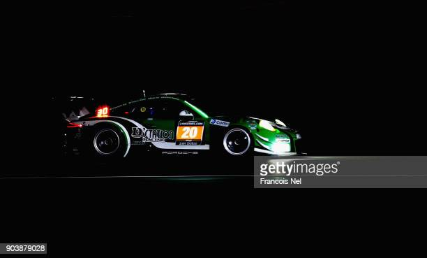 The Porche 911 GT3 R of Satoshi Hoshino Seiji Ara Tomonobu Fuji and Tsubasa Kondo drives during qualifying for the Hankook 24 Hours Dubai Race in the...