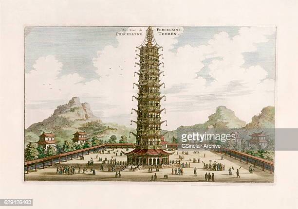 The Porcleian Tower, a pagoda in Nanjing , China. A hand colourised engraving after the Johan Nieuhof, a Dutch traveler, from a book on his travels...