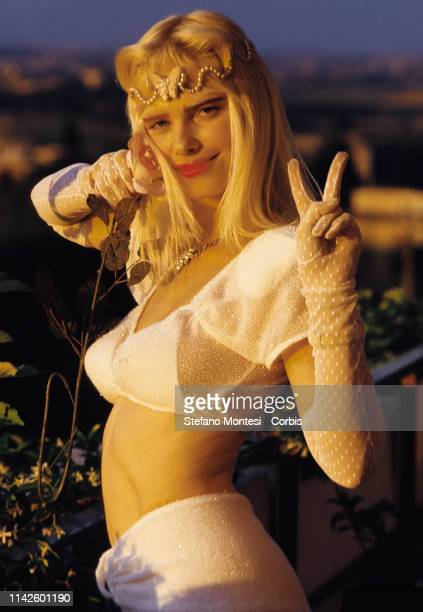 The porn star in art Cicciolina candidate for the Radical Party poses during the election campaign for the parliamentary elections on June 17 1987 in...