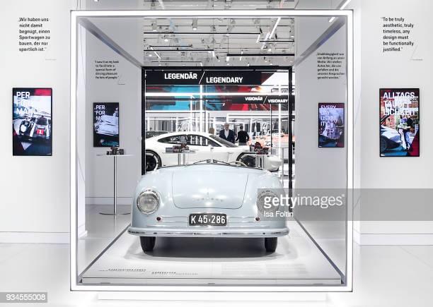 The Porsche 356 'No 1' Roadster during the Porsche exhibition preview of '70 Jahre Faszination Sportwagen' at DRIVE Volkswagen Group Forum on March...