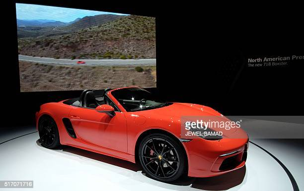 The Porsche 718 Boxster is pictured during the New York International Auto Show on March 23 2016 / AFP / Jewel SAMAD