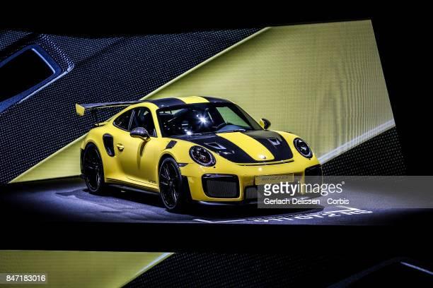 The Porsche 911 GT2 RS on display at the 2017 Frankfurt Auto Show 'Internationale Automobil Ausstellung' on September 13 2017 in Frankfurt am Main...