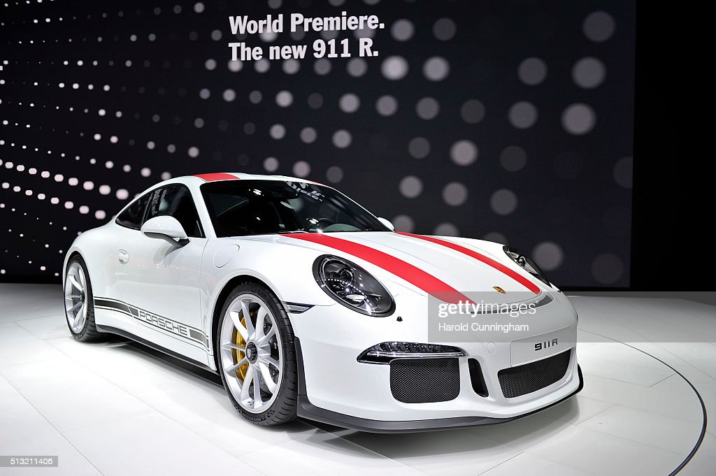 The Porsche 911 R during the Geneva Motor Show 2016 on March 1, 2016 in Geneva, Switzerland. The 86th International auto show will run from March 3 to March 16.