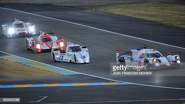 The Porsche 919 Hybrid N°20 driven by German driver Timo Bernhard the Rebellion ROne Toyota N°12 driven by Swiss driver Mathias Beche the Nissan Zeod...