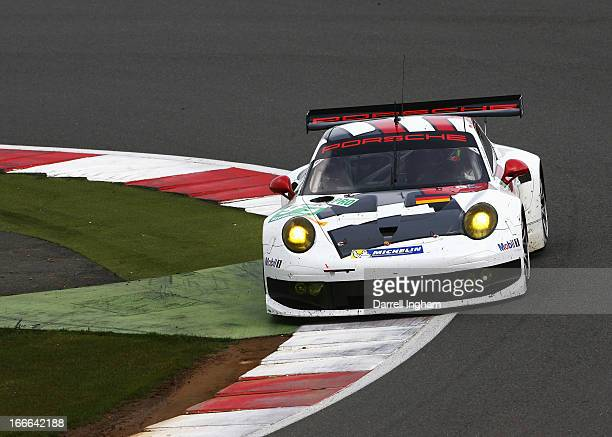 The Porsche AG Manthey Porsche 911 RSR driven by Jorg Bergmeister of Germany Patrick Pilet of France and Timo Bernhard of Germany during the FIA...