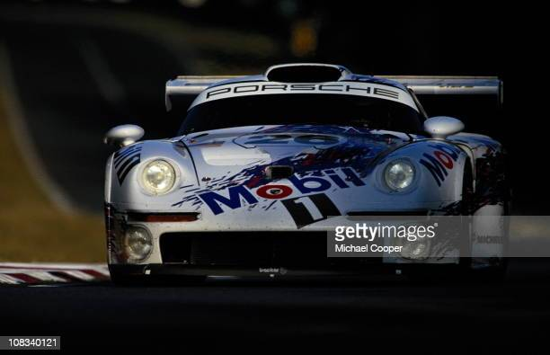 The Porsche AG Mobil 1 Porsche 911 GT1 Turbo driven by Karl Wendlinger Yannick Dalmas and Scott Goodyear during the 24 Hours of Le Mans race on 15th...