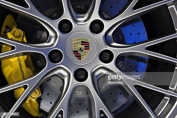 The Porsche Automobil Holding SE logo is seen on the hubcap of a 911 Targa 4S convertible vehicle during the Los Angeles Auto Show in Los Angeles...