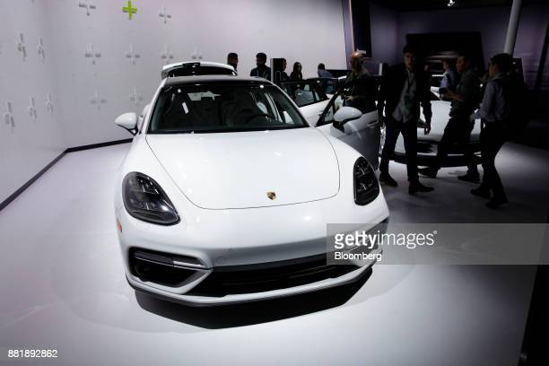 The Porsche Automobil Holding SE Panamera Turbo S ehybrid vehicle is displayed during AutoMobility LA ahead of the Los Angeles Auto Show in Los...