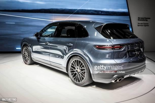 The Porsche Cayenne S on display at the 2017 Frankfurt Auto Show 'Internationale Automobil Ausstellung' on September 13 2017 in Frankfurt am Main...