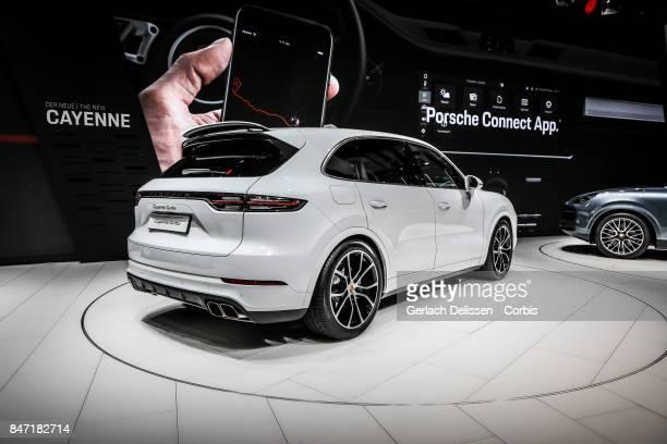 The Porsche Cayenne Turbo on display at the 2017 Frankfurt Auto Show 'Internationale Automobil Ausstellung' on September 13 2017 in Frankfurt am Main...