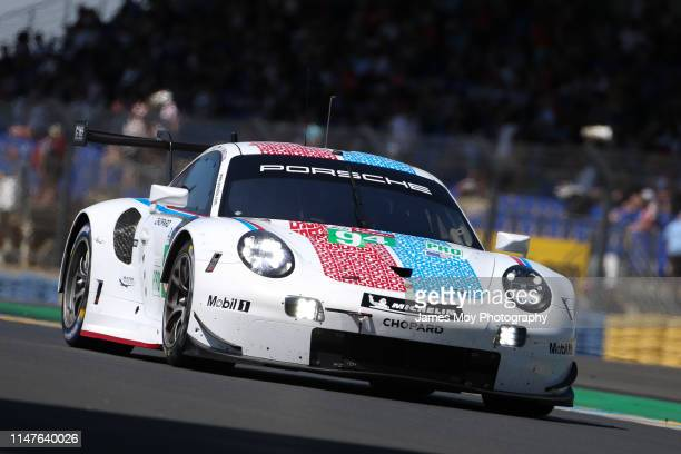 The Porsche GT Team, Porsche 911 RSR of Mathieu Jaminet, Sven Muller, and Dennis Olsen in action at the Le Mans Test Day on June 2, 2019 in Le Mans,...