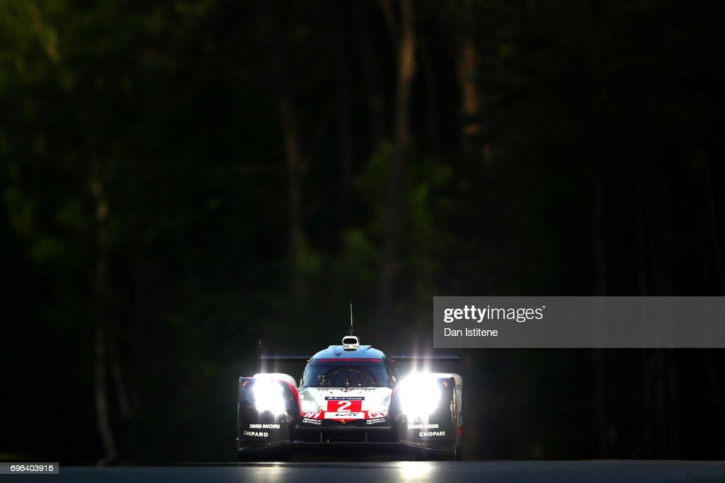 The Porsche LMP Team 919 of Earl Bamber, Timo Bernhard and Brendon Hartley drives during qualifying for the Le Mans 24 Hour Race at Circuit de la Sarthe on June 15, 2017 in Le Mans, France.