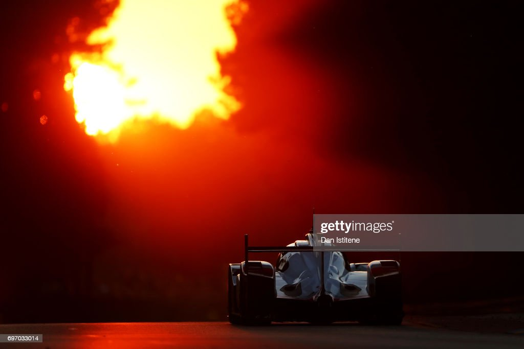 The Porsche LMP Team 919 of Jani Neel, Andre Lotterer and Nick Tandy drives during the Le Mans 24 Hour Race at Circuit de la Sarthe on June 17, 2017 in Le Mans, France.