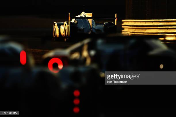 The Porsche LMP Team 919 of Neel Jani Nick Tandy and Andre Lotterer drives during the Le Mans 24 Hours race at the Circuit de la Sarthe on June 17...