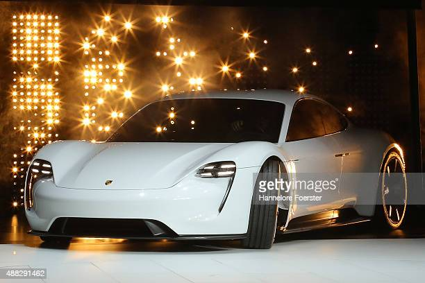 The Porsche Mission E stands at the Porsche stand at the 2015 IAA Frankfurt Auto Show during a press day on September 15 2015 in Frankfurt Germany...